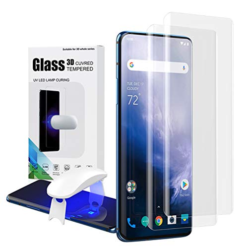 Oneplus 7 Pro/7T Pro Tempered Glass Screen Protector,Fingerprint Scaner 3D Transparent Clear Full Curved Edge Case Friendly Anti-Scratch Coverage for Oneplus 7 Pro/7T Pro 5G【2 Pack】