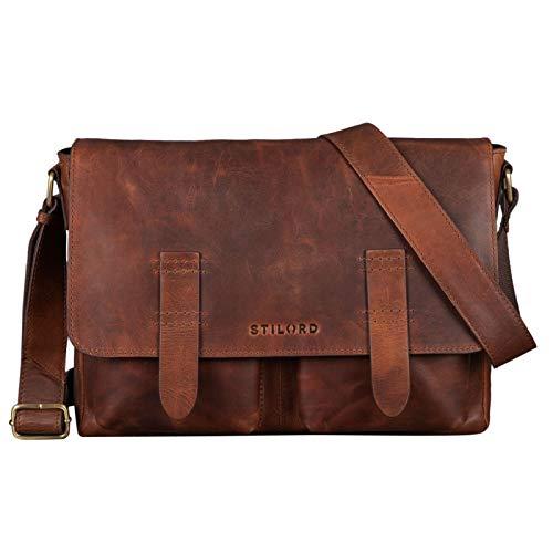 STILORD 'Russell' Messenger Bag laptop tas leder vintage unit bag schoudertas voor MacBook 13,3 inch echte lederen businesstas, Kleur:mokka - donkerbruin