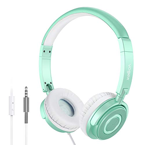 On Ear Headphones with Mic, Vogek Lightweight Portable Fold-Flat Stereo Bass Headphones with 1.5M Tangle Free Cord and Microphone-Green