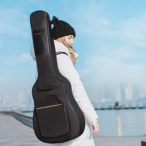 CAHAYA 41 Inch Acoustic Guitar Bag 0.35 Inch Thick Padding Waterproof Dual Adjustable Shoulder Strap Guitar Case Gig Bag with Back Hanger Loop, Black