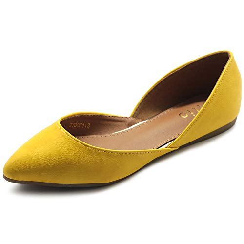 Ollio Women's Shoes Faux Leather Slip On Comfort Light Pointed Toe Ballet Flats F113 (8.5 B(M) US, Yellow)