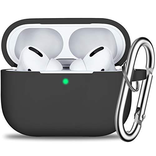AirPods Pro Case Cover with Keychain, Full Protective Silicone Skin Accessories for Women Men Girl with Apple 2019 Latest AirPods Pro Case,Front LED Visible