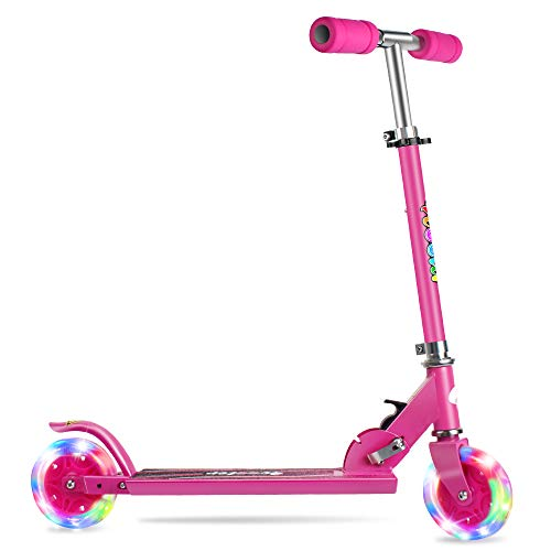 BELEEV Folding Kick Scooter for Kids 2 Wheel Scooter for Girls Boys, CSPC&ASTM Safety Certified, 3 Adjustable Height, PU LED Light Up Wheels for Children 4 Years and up (Rose Pink)