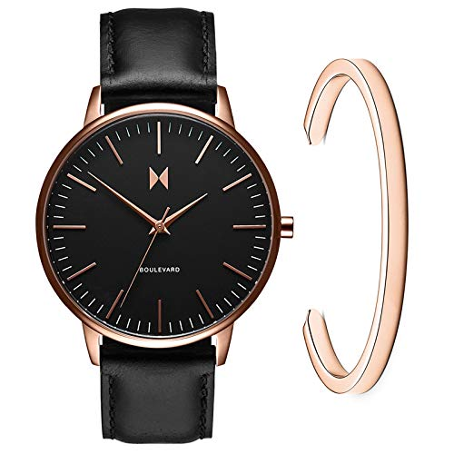 MVMT Boulevard Watch Gift Set | 38 MM Women's Analog Watch | Black Watch & Rose Gold Cuff