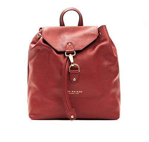 The Bridge Zaino zainetto Backpack pelle leather made in Italy donna woman dettagli color oro spallacci regolabile rosso red 30X28X15 cm 4442351H