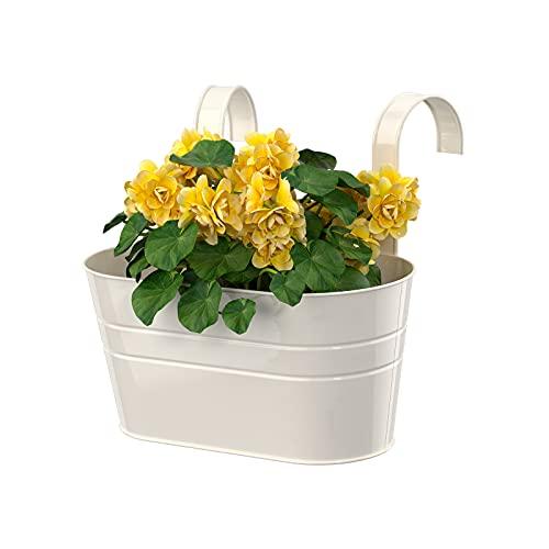 Vaso da fiori ovale in metallo, con doppio gancio rimovibile, per giardino, balcone, recinto, contenitore ornamentale per fioriera bianco