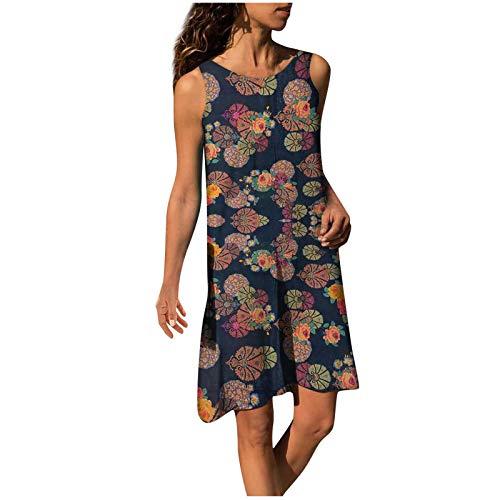 BIBOKAOKE Vestido de verano para mujer, cuello redondo, floral, minivestido de algodón y lino, vestido de playa, talla grande, vestido de manga corta, informal, vestido de camiseta, vestido de flores.