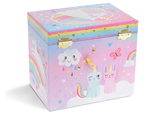 Jewelkeeper Musical Jewelry Box with 2 Pullout Drawers, Glitter Rainbow and Stars Unicorn Design, Over The Rainbow Tune 5