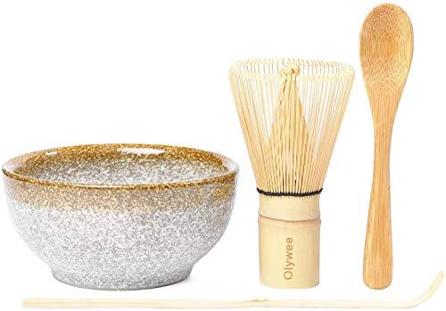 Olywee Matcha Batidor Set ,Juego de Ceremonia de te Matcha de 4, incluyen un batidor Matcha de 100 puntas, una cuchara tradicional, una cuchara para te y tazones de ceramica Matcha
