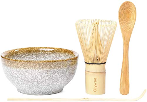 Olywee Matcha Batidor Set ,Juego de Ceremonia de té Matcha de 4, incluyen un batidor Matcha de 100 puntas, una cuchara tradicional, una cuchara para té y tazones de cerámica Matcha