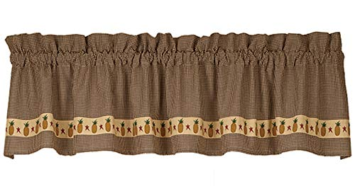 HAPPY DEALS ~ Primitive Farmhouse Style Pineapple and Star Valance | 72 x 14 inch | Black Gingham Check | 2 inch Pocket