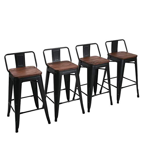 Yongchuang 26' Metal Barstools Set of 4 Counter Height Bar Stools with Backs (26' Seat Height, Wooden Top Low Back Matte Black)