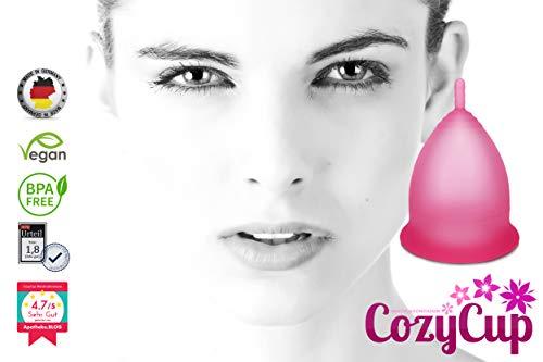 Rosa Menstruationstasse CozyCup CLASSIC – Menstruationskappe klein – aus medizinischem Silikon inkl. Stoffbeutel (Gr 1) - 2