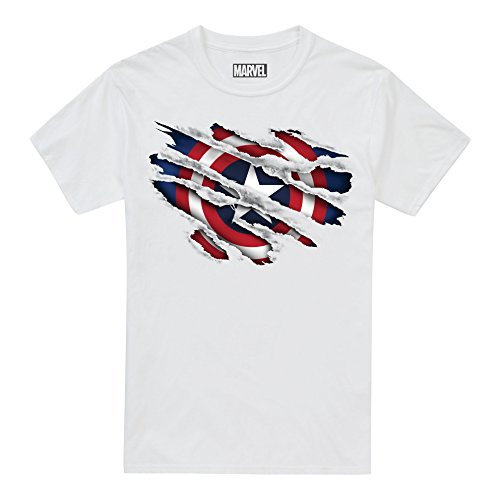 Marvel Boy's Captain America Torn T-Shirt, White, 9-10 Years