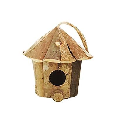 Yardwe Small Wooden Bird House Garden Indoor Outdoor Birds Nest Box Vintage Rustic Hanging Birdhouse Decoration Ornament 16cmx16cm by Yardwe