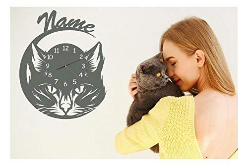 Wand Uhr Katze Geschenke Katzenliebhaber für Frauen Männer Kinder personalisiert Katzenmotiv Geschenkidee