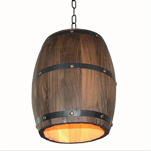 LIVY Lampadari, Americana lampadario paese legno secchio botte botte ristorante decorazione Cafe salone lampadario D24 * H33cm Illuminazione per interni