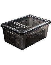 N/J Plástico Esmerilado del Reptil Lagarto Alimentación De La Caja De La Araña La Eclosión Cría Suministros De Contenedores, Alimentación Box (Color : Black L)