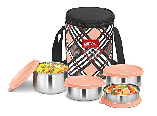 Milton Smart Meal Insulated Lunch Box, Set of 4, Orange Stainless Steel