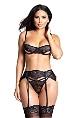 Stockings NOT included. Refer to Yandy's size chart for an accurate fit Sophisticated exclusive bra set featuring sheer embroidered lace underwire cups with underbust peek-a-boos, a scalloped lace trim, adjustable spaghetti straps, a double elastic b...