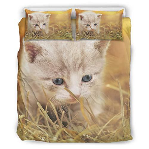 shenminqi Kitten - Juego de cama de tres piezas extra suave y resistente a la decoloración, sin arrugas, para dormitorio universitario, color blanco, 229 x 229 cm