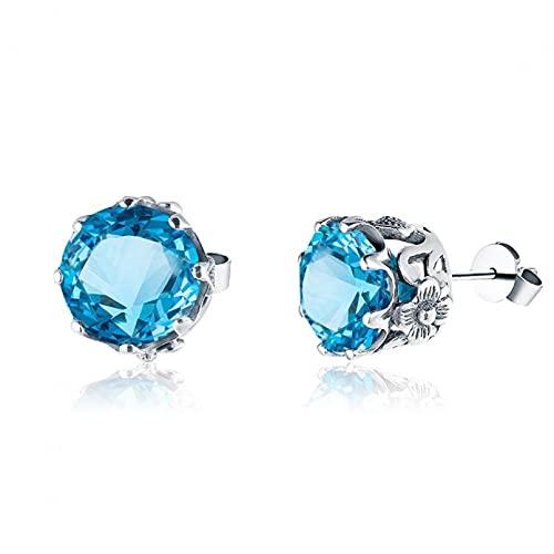 WLLLTY Pendientes Plata de Ley 925, Pendientes de topacio Azul, joyería, aretes de Piedras Preciosas de Platino, Regalo para Mujer