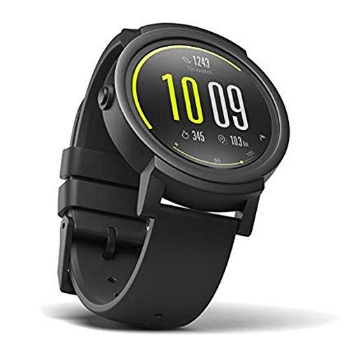 Ticwatch E Shadow Smartwatch Bluetooth Montre Connectée avec écran OLED 1,4 Pouces, Android Wear 2.0, Sportswatch Compatible avec Android et iOS, Langue française Disponible Disponible