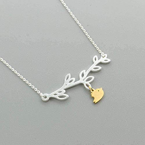 ZJJLWL Co.,ltd Necklace Necklace Stainless Steel Animal Love Bird Pendant Necklaces for Women Branch Neck Collars Jewelry