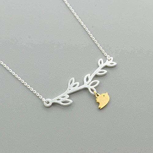 NC122 Collar de Acero Inoxidable Animal Love Bird Collares Pendientes para Mujer Collares de Cuello de Rama Natural Joyería