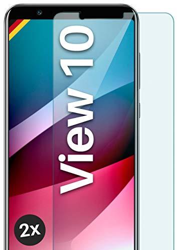 moex Panzerglas kompatibel mit Huawei Honor View 10 - Schutzfolie aus Glas, bruchsichere Bildschirmschutz Folie, Crystal Clear Panzerglasfolie, 2X Stück