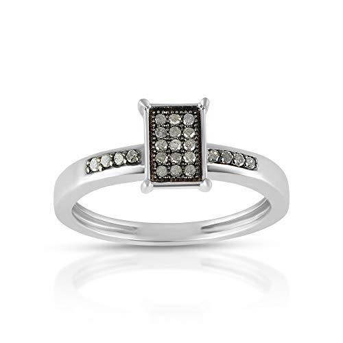 Anillo de diamante negro, certificado de 12,5 quilates de diamante negro, anillo de solitario de diamantes auténticos naturales, anillo de diamantes pavimentado para ella