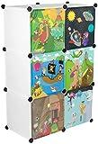 KEKSKRONE Großer Kinderschrank Bunte Motiv-Türen - DIY Stecksystem - 6 Module je 37 x 37 x 37 cm, Weiß | Kinderzimmer-Schrank | Kinderkleiderschrank | Baby-Regal | Spielzeugkommode