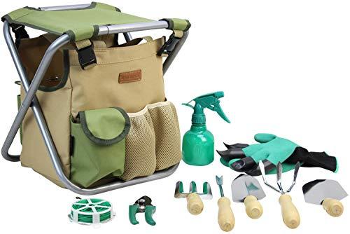 INNO STAGE Kit de 10 outils de jardinage avec sac de rangement et siège