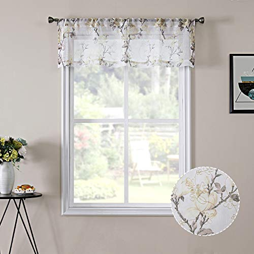 Tollpiz Floral White Sheer Valance Curtains Flower Print Vine Embroidery Bedroom Curtain Valances Rod Pocket Voile Window Curtains for Living Room, 54 x 16 inches Long, Set of 1 Panel