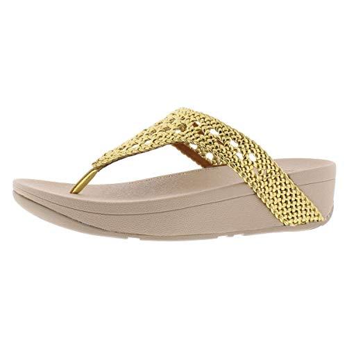 FitFlop Lottie - Sandalias de cuña para mujer de piel de mimbre, Dorado (Dorado (Artisan Gold)), 42 EU