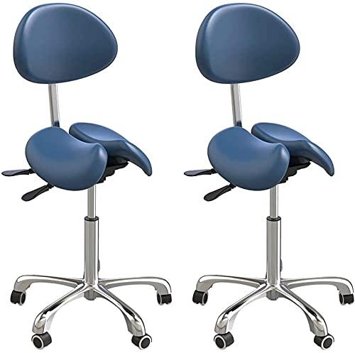 HAO KEAI 2 X Sgabelli da Bar Set di 2 Sgabello Girevole Sgabello SY Saddle Sedile Sedile da banco società Stazione Sociera Regolabile Schienale e Altezza Bar Sedie Mobili (Color : Blue-c)