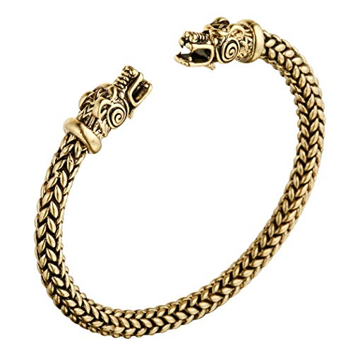 Men's Double Head Dragon Bracelet, AILUOR Norse Viking Adjustable Stainless Steel Gold Sliver Cuff Cool Polished Twisted Arm Ring Cable Bangles Pagan Jewelry (Gold)