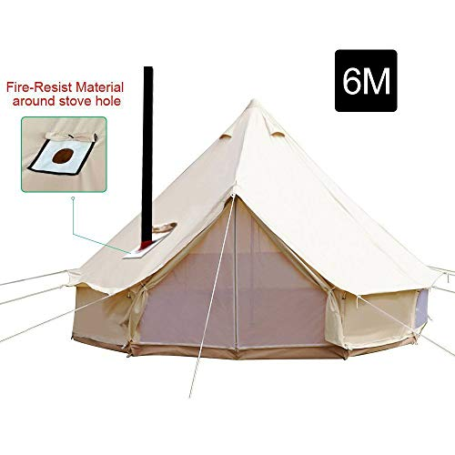 Playdo 6M Waterproofing Large Cotton Canvas Bell Tent Camping Yurts Tent...