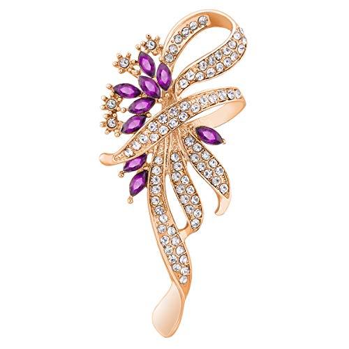Merdia Created Crystal Fancy Vintage Style Brooch Pin for Women, Girls, Ladies, Purple Color