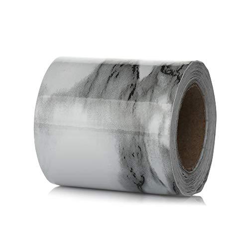 bayolong Calcomanías de vinilo de PVC impermeables autoadhesivas para zócalo de mármol, línea de la cintura del papel pintado de la pared (5 cm x 5 m, blanco y gris)