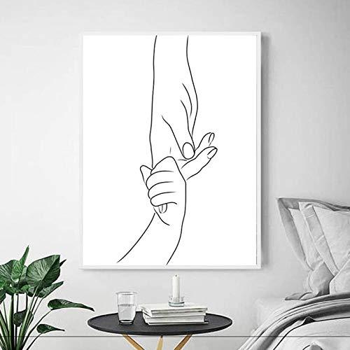 Lámina artística Dibujo lineal de manos Mamá bebé manos minimalista pared arte lienzo pintura cartel moderno, para habitación de niños decoración de pared de dormitorio Sin marco