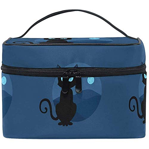 Trousse de maquillage Black Cat Moon Travel Cosmetic Bags Organizer Train Case Toiletry Make Up Pouch