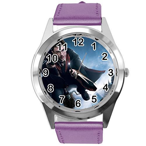 TapORT® Armbanduhr Analog Quarz mit Echtlederband violett rund für Harry Potter Fans E1