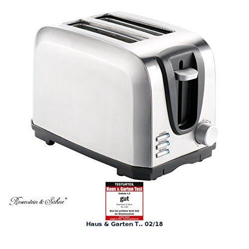 Rosenstein & Söhne Brot Toaster: Edelstahl-Toaster für 2 Scheiben, 650 W (Brotröster)
