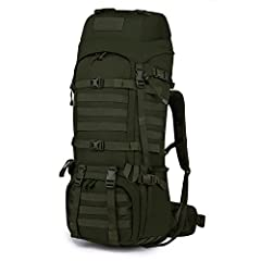 "MATERIAL- 65L, 11.4""*8.3""*33.4"". This tactical backpack is made of Water-resistant 600D polyester. YKK Zipper. Rain Cover Included. SIDE POCKET & QUICKLY ACCESS- This hiking backpack with 2 side pockets(8""*9"") that can hold water bottle or camping & ..."