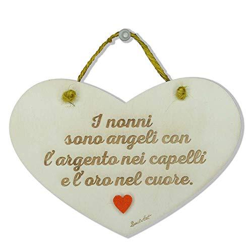 Dacl'Art Targa in Legno Nonni Angeli Argento Oro cun-20 Made in Italy