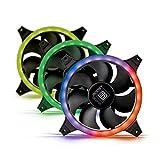 BoostBoxx AIR Boost RGB-Kit Double Ring – 3 leise & leistungsstarke 120mm Gehäuselüfter, RGB-Beleuchtung, max. 1500 U/min. für optimale Kühlung - kompatibel mit ASUS Aura Sync & MSI Mystic Light
