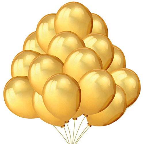 Jonami 50 Palloncini Oro in Lattice Premium. Palloncini per Elio da 36 cm di 3g. Decorazioni e Accessori per Feste di Compleanno e Capodanno