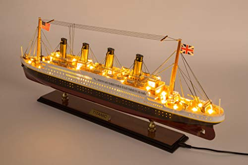 Seacraft Gallery Titanic Model Ship with LED Lights 23.6' - 3D RMS Titanic Boat Model Decor- Fully Assembled Model Ships of The RMS Titanic -Titanic Toys Model Boat Wood - Titanic Scale Model Ship