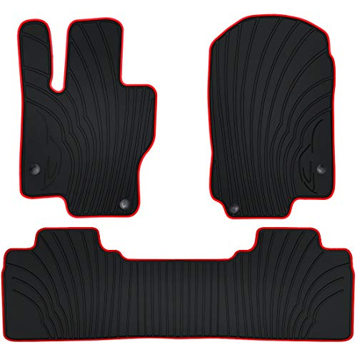 San Auto Car Floor Mats for Mercedes-Benz GLE 350 450 580 5-seat 2020 2021 Custom Fit Rubber Black and Red Auto Floor Liners Set All Weather Protection Heavy Duty Odorless
